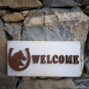 Targa Welcome in legno sbiancato Naturarte